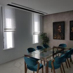 Combination Of Roman Blinds And Roller Blinds